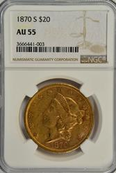 Scarce near Mint 1870-S Ty2 $20 Liberty Gold. NGC AU55