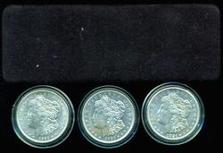 Nice 1921 P-D-S Morgan Silver Dollars in custom box