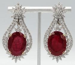 Stunning Huge 14kt Gold Ruby & Diamond Earrings