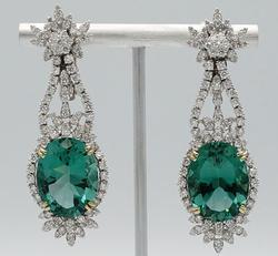 Royal 18kt Gold, Green Amethyst, & Diamond Earrings