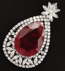 Unbelievable Exotic Ruby & Diamond Pendant in 14kt Gold