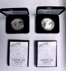 1999 and 2000 Proof Silver Eagles with Boxs and Papers