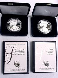 2014 and 2015 Silver Eagles with original box papers