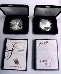 2003 And 2016 Proof Silver Eagles With Boxs and Papers