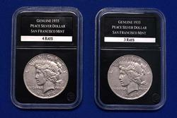 1935 S 3 Rays And 4 Rays Silver Peace Dollars in Presentation box