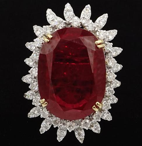 Huge 14kt Gold, Ruby, & Diamond Cocktail Ring