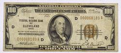 $100 Cleveland Fed Res Bank Note, Pinholes