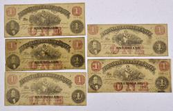 5 x Virginia Treasury Notes, Civil War Era