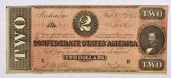 Very Nice Red 1864 $2 Confederate States Note
