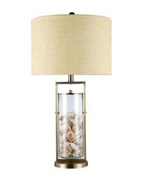 Table Lamp In Antique Brass And Clear Glass With Shells
