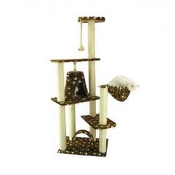 66-Inch Wooden Step Cat Tower Tree Condo Scratcher