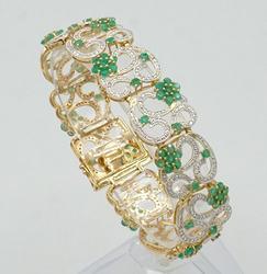 Sterling Silver Emerald & Diamond Bracelet