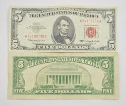 321 Bills Large Bundle $5.00 1963 Series Red Seal US Note