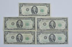 (5) Series 1950-A $100.00 Federal Reserve Note - Includes STAR