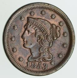 1853 Braided Hair Large Cent - Circulated