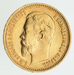 1903 Russia Gold 5 Rubles - Circulated