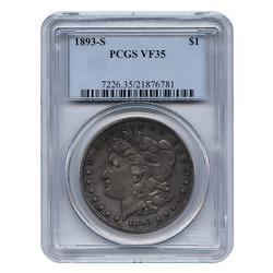 KEY  Morgan Silver Dollar 1893-S VF35 PCGS