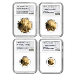 KEY DATE Proof Gold Eagle 4pc Set 1993-W PF70 NGC