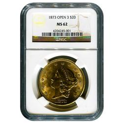 Certified US Gold $20 Liberty 1873 Open 3 MS62 NGC
