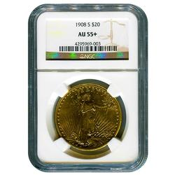 Tough Issue 1908-S $20 Saint Gaudens AU55+ NGC