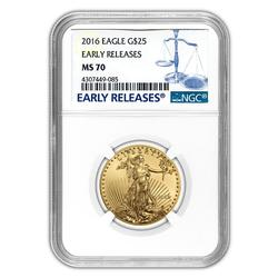 Certified 1/2oz Gold Eagle 2016 MS70 NGC Early Releases