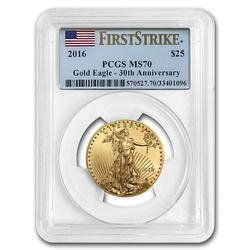 Certified 1/2oz Gold Eagle 2016 MS70 PCGS First Strike