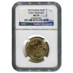 Certified 1/2oz Gold Eagle 2013 MS70 NGC Early Release