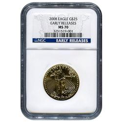 Certified 1/2oz Gold Eagle 2008 MS70 NGC Early Release