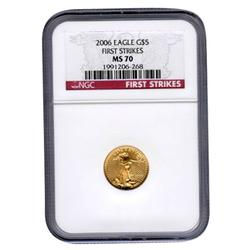 Certified $5 Gold Eagle 2006 MS70 First Strike NGC