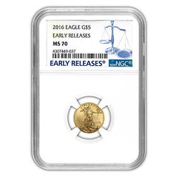 Certified $5 Gold Eagle 2016 MS70 NGC Early Releases