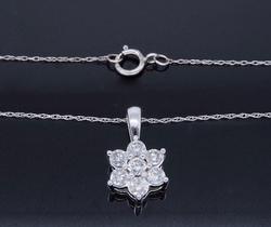 Star Design Beautiful Diamond Cluster Style Necklace