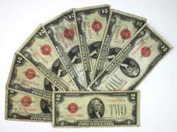8 Various $2 1828 Series US Notes