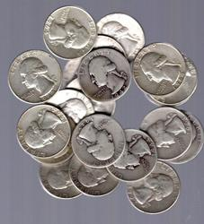 Half-Roll of 20 Silver Washington Quarters 1930s-1960s