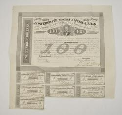 1863 $100.00 Confederate States of America Act of Congress Bond Note