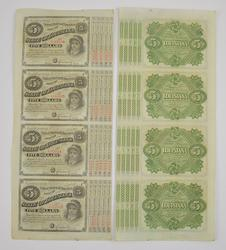 39 Uncut 1886 State of Louisiana $5.00 Bond Notes Sheet - 4 Notes Per Sheet