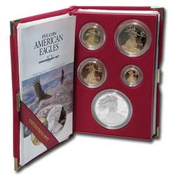 Proof Gold Eagle 5pc Set With 1995-W Proof Silver Eagle