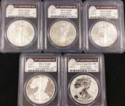 2011 5pc Silver Eagle Set 25th Anniv PCGS MS & PF 70