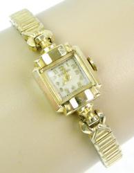 Deco 14K Gold Bulova Watch & Box, Runs