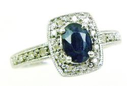 High End Sterling Filigree Ring - Sapphire & Diamonds