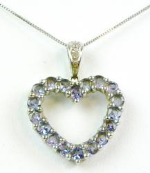 10K White Gold Amethyst Heart Necklace