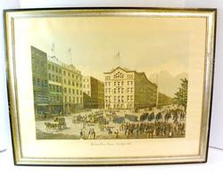 Framed Engraving, Printing House Square, NY - 1864