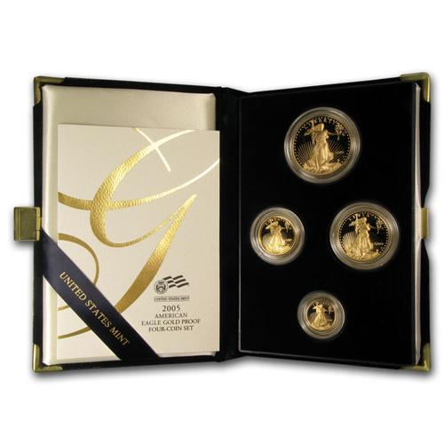 2005 4pc Proof Gold Eagle Set w/Box & Cert