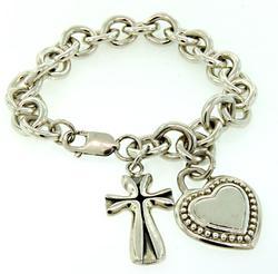 Judith Ripka Bracelet with Heart & Cross Charms