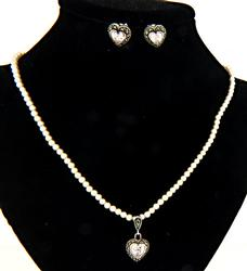 Pearl, Marcasite  Earring and Necklace Set