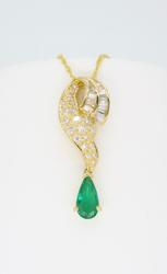 Diamond and Emerald 18K Yellow Gold Necklace