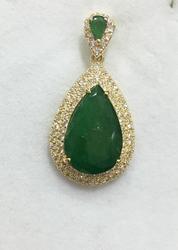 14kt Gold Emerald & Diamond Pendant