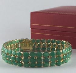 14kt Gold 35+ Carat Emerald Bracelet
