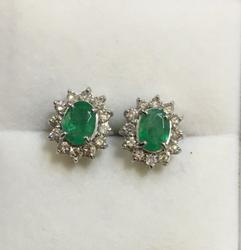 18kt Gold Emerald  Diamond Earrings