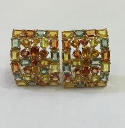 14kt Gold Multi Colored Sapphire Earrings