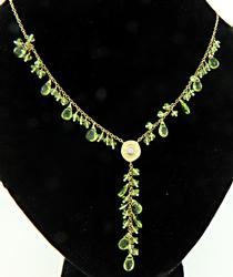 Peridot & Diamond Y Style Necklace